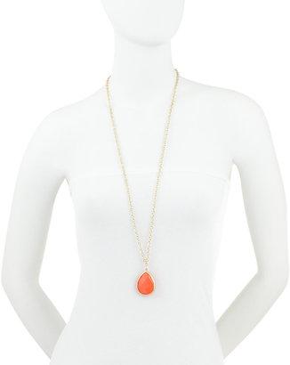 Greenbeads Teardrop Pendant Necklace, Coral