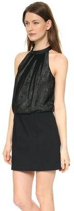 Tibi Halter Dress with Leather Collar