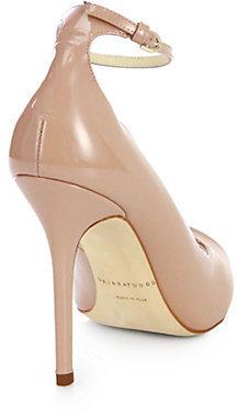 Brian Atwood Myrta Patent Leather Peep-Toe Pumps