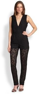 MSGM Lace Plunging Tapered Jumpsuit