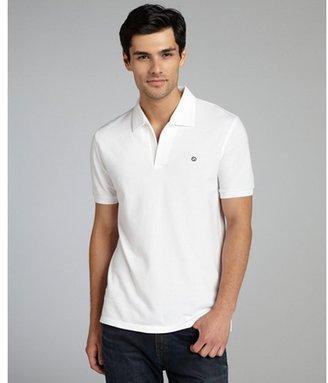 Gucci white cotton pique embroidered logo polo shirt