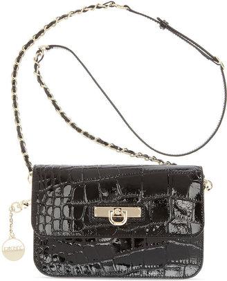 DKNY Handbag, Patent Croco Small Flap Crossbody
