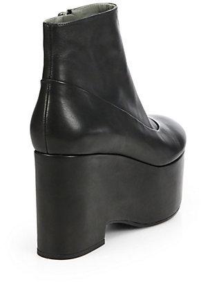 Jil Sander Navy Leather Platform Boots