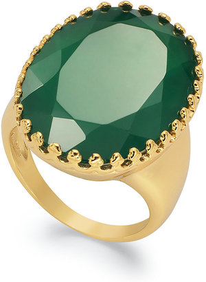 14k Gold over Sterling Silver Ring, Green Onyx Ring (25mm x 17mm)