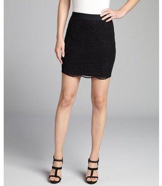 Mason black stretch cotton blend lace inset mini skirt