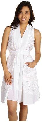 Edun Laser Cut Belted Shirtdress (White) - Apparel