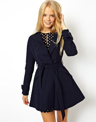 Asos Textured Skater Belted Trench - Navy