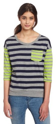 Southpole Juniors Striped 3/4 Sleeve Top