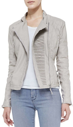 Blank Faux-Leather Asymmetric Zip Moto Jacket, Taupe