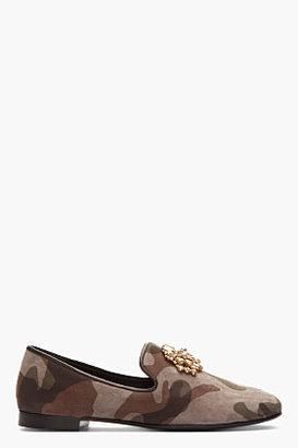 Giuseppe Zanotti Taupe camo jeweled Kevin 10 loafers