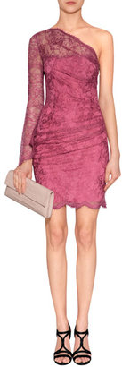 Emilio Pucci One Shoulder Lace Overlay Dress in Bordeaux
