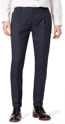 Topman Navy Herringbone Dress Pants