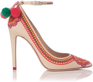 Issa Parrot Embroidered Cotton Pointed Toe Court