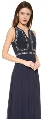Rebecca Taylor Beaded Slit Neck Gown