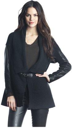 525 America Vegan Leather Sleeve Cardigan