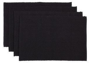Vue Plain Dyed Textured set of 4 Placemats Black