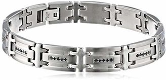 Black Diamond Cold Steel Men's Stainless Steel Bracelet