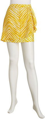 BCBGMAXAZRIA Ruffle Faux-Wrap Printed Skirt