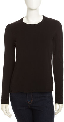 James Perse Long-Sleeve Basic Crew Tee, Black