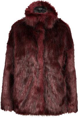 Topshop Funnel Neck Faux Fur Coat