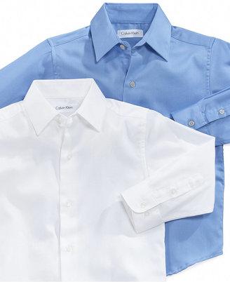 Calvin Klein Kids Shirt, Little Boy Long Sleeve Sateen Button Down Shirt