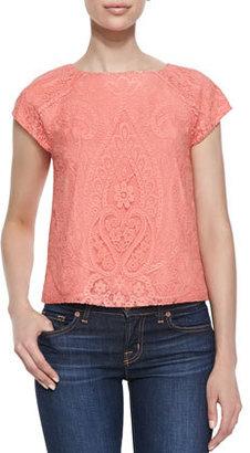 Alice + Olivia Cap-Sleeve Boxy Lace Top