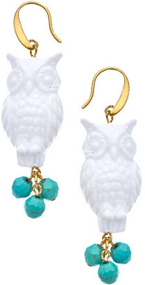 David Aubrey White Owl Turquoise Drop Earrings
