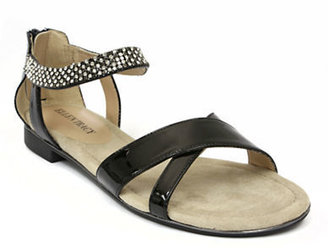 Ellen Tracy Aerial Patent Leather Sandals with Mesh Chain Accent