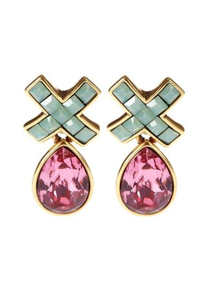 Oscar de la Renta Swarovski Pave X Drop Pierced Earring