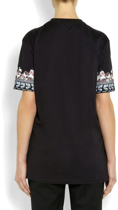 Printed black cotton-jersey T-shirt