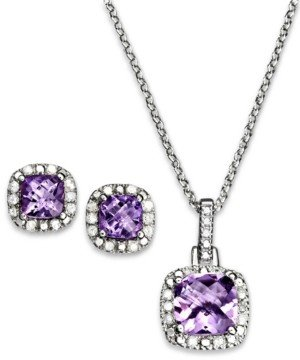 """Macy's Blue Topaz (3 1/10 ct. t.w.) & Diamond Accent Sterling Silver 18"""" Pendant Necklace and Stud Earrings Set (Also in Sapphire, Amethyst, Garnet, and White Topaz)"""