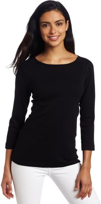 Three Dots Red Women's Classic Fit 3/4 Sleeve British Tee