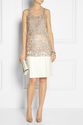 Vera Wang Sequined tulle top