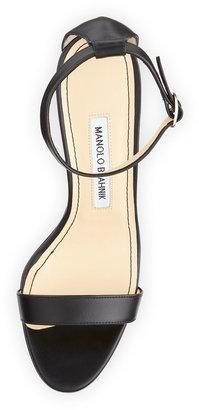 Manolo Blahnik Chaos Leather Ankle-Wrap Sandal, Black