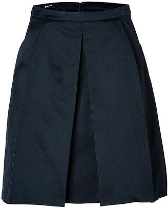 Jil Sander Navy Silk Pleated Skirt in Dark Blue
