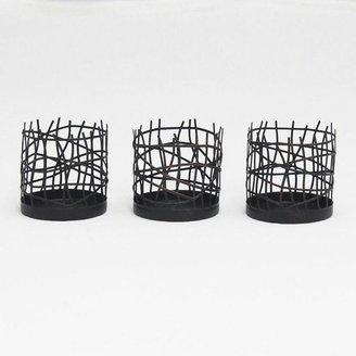 Elle 3-pc. woven metal votive candleholder set