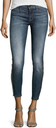 Hudson Embellished Medium-Wash Cropped Jeans, Glam