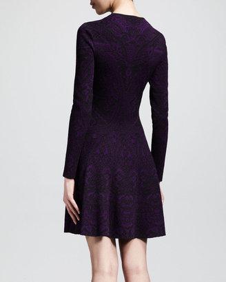 Alexander McQueen Lace Jacquard Long-Sleeve Circle Dress