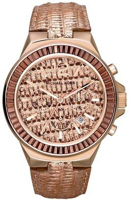 MICHAEL Michael Kors Michael Kors 'Gramercy' Embossed Leather Strap Watch, 45mm