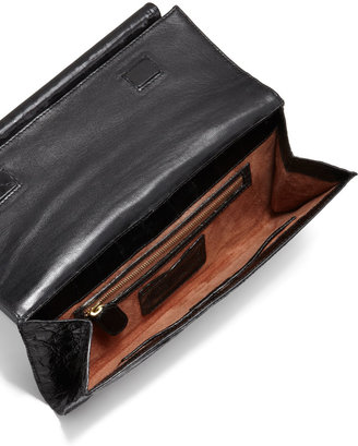 Nancy Gonzalez Front-Flap Crocodile Bar Clutch Bag, Black