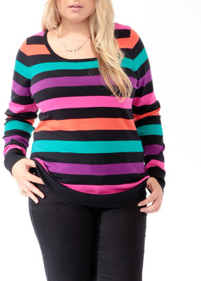 Forever 21 FOREVER 21+ Striped Zipper Back Sweater