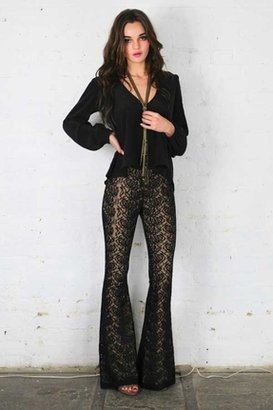 Lovers + Friends Rolling Stones Flares in Black Lace Nude