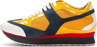 Maison Martin Margiela Yellow Suede & Mesh Sneakers