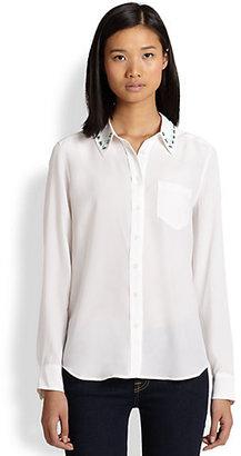Equipment Brett Silk Jeweled-Collar Shirt