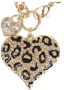 GUESS Gone Wild Animal Print Heart Charm Bracelet