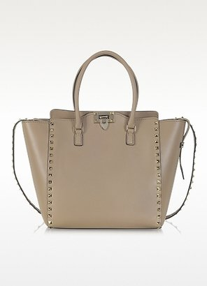 Valentino Rockstud Beige Leather Tote Bag