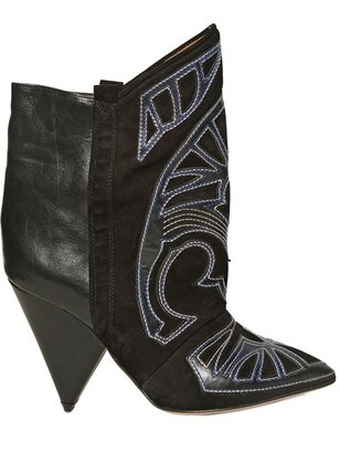 Isabel Marant 120mm Embroidered Suede & Leather Boots