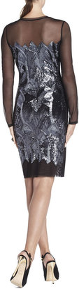 BCBGMAXAZRIA Anaya Long-Sleeve Braided Sequined Dress