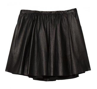 Mason Leather Gathered Skirt