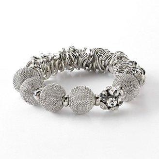 Vera Wang Simply vera tone simulated crystal and bead stretch bracelet